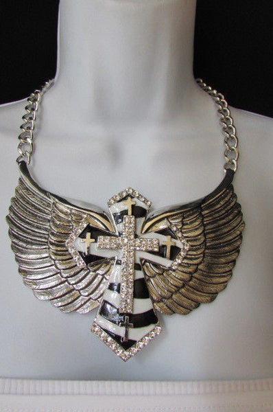 Big Bow Zebra Angel Wings Pendant Black Cross Stripes Rhinestones New Women - alwaystyle4you - 1