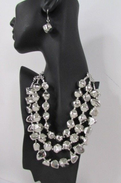 Long Shiny Silver Plastic Beads 3 Strands Fashion Necklace + Earring Set New Women - alwaystyle4you - 16