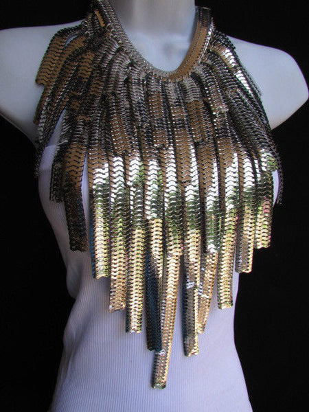 "Dressy Casual Wide Multi Strand Gold / Silver Links Chains Wide Metal New Women Necklace 20"" - alwaystyle4you - 13"