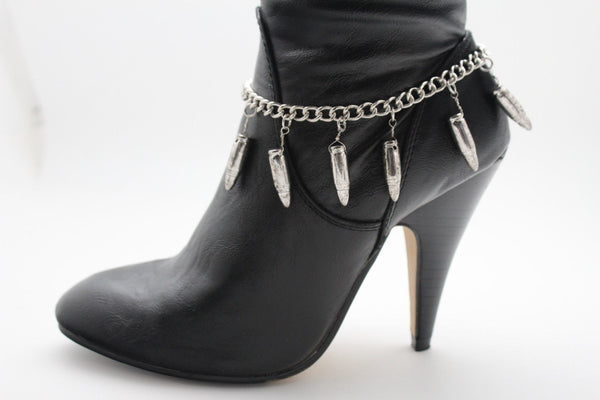 Silver Metal Boot Chain Bracelet Multi Gun Bullets Anklet Shoe Charm New Women Fashion Jewelry - alwaystyle4you - 5