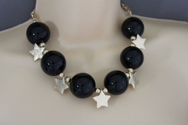Black / Silver / Gold / Red / White Metal Stars Ball Beads Short Ivory Necklace + Earring Set New Women Fashion Jewelry - alwaystyle4you - 26