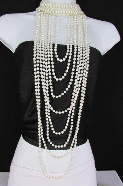 Black / White Metal Beads Extra Long 8 Strands Choker Necklace New Women Fashion - alwaystyle4you - 19