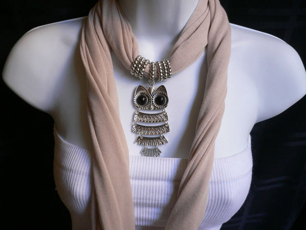 New Women Long Beige / Pnk Soft Scarf Fashion Necklace Silver Owl Pendant Rhinestones - alwaystyle4you - 19