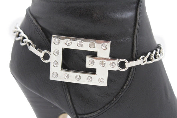 Silver Boot Chains Bracelet Beaded Square Anklet Shoe Bling Charm New Women Fashion Accessories - alwaystyle4you - 1