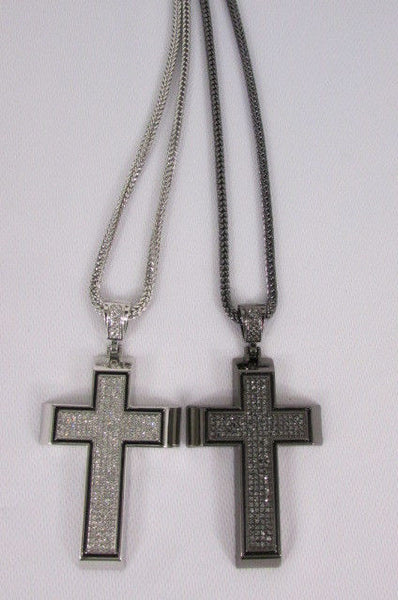 Pewter / Silver Metal Chains Long Necklace Boarded Cross Pendant New Men Hip Hop Fashion - alwaystyle4you - 16