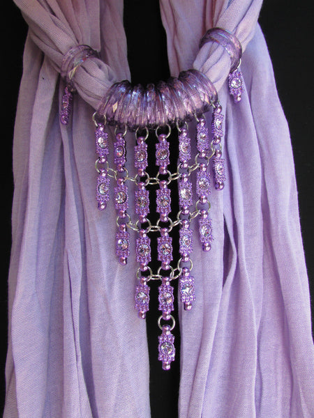 Black White Blue Purple Light Pink Lavander Lime Green Soft Scarf Long Necklace Triangle Big Rhinestones Pendant Women Fashion - alwaystyle4you - 34