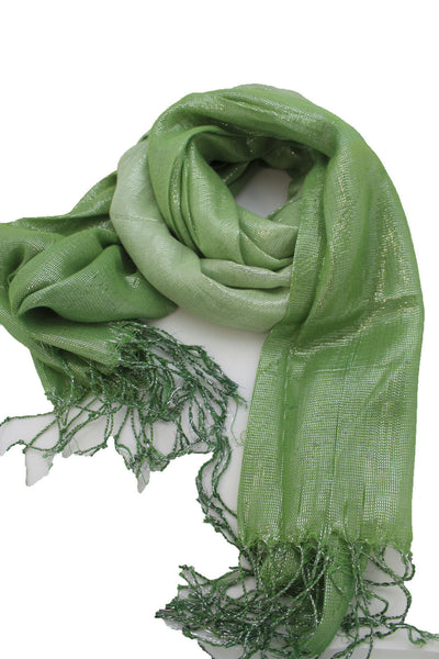 Green Neck Scarf Long Soft Fabric Tie Wrap Classic Bright Shiny New Women Jewelry Accessories - alwaystyle4you - 11