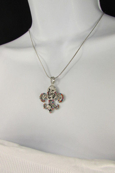 Silver Metal Fleur De Lis Lily Flower Bull Colorfull Rhinestones/ Silver Necklace New Women Fashion - alwaystyle4you - 11