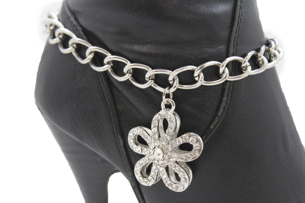 Silver Boot Chain Bracelet Link Big Flower Anklet Shoe Bling Charm New Women Western Fashion Accessories - alwaystyle4you - 12