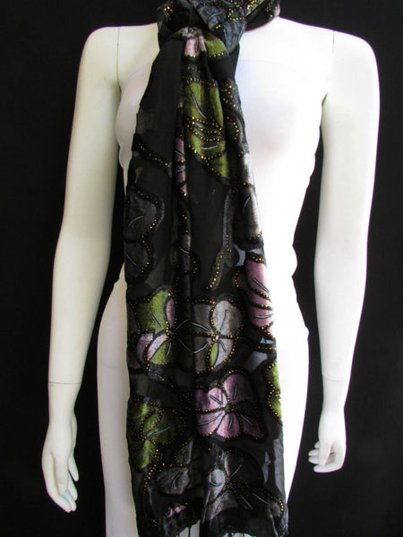 Black Long Fabric Neck Scarf Metallic Big Flowers Faux Velvet New Women Fashion Fashion - alwaystyle4you - 11