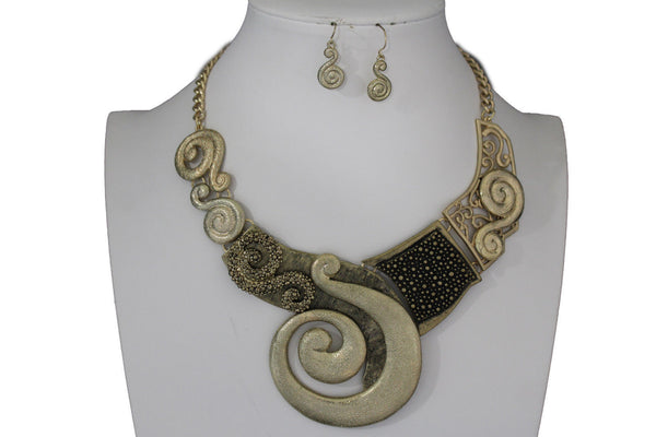 Gold Silver Copper Metal Chain Snail PendantNecklace New Women Fashion + Earrings Set - alwaystyle4you - 14
