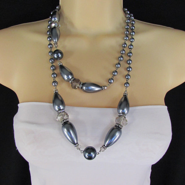 Long Imitations Pearls Necklace Small Gray Beads Beige Silver Color + Earrings Set New Women Fashion - alwaystyle4you - 12