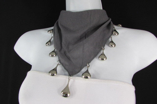 Solid New Women Scarf Fashion Necklace Gray Short Fabric Neck Multi Silver Drops Beads - alwaystyle4you - 12