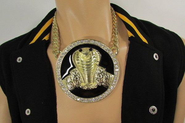 Gold Metal Black Huge Cobra Large Snake Necklace Big Pendant New Men Fashion Style - alwaystyle4you - 6