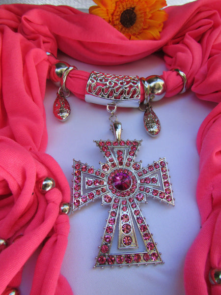New Women Soft Fabric Dark Brown / Pink Scarf Necklace Western Rhinestones Cross Pendant - alwaystyle4you - 12