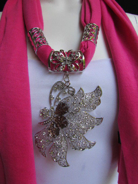 Pink Blue Black Brown Bright Coral Soft Fabric Scarf Long Necklace Big Silver Butterfly Pendant New Women Fashion - alwaystyle4you - 13