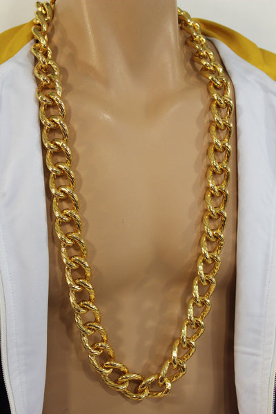 Chunky Metal Thick Chain Links Heavy Long Necklace Gold Hip Hop New Men Biker Fashion - alwaystyle4you - 9