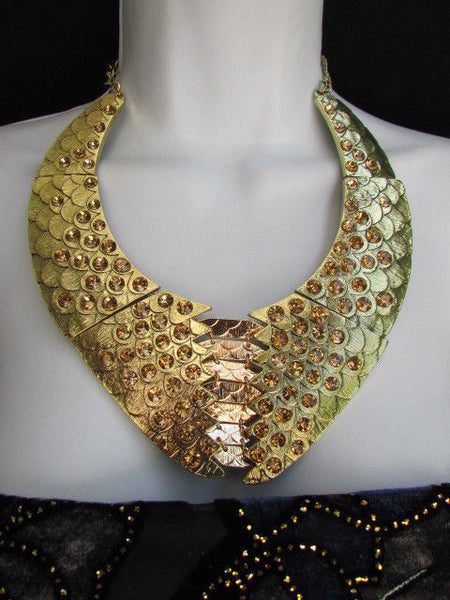 Gold /  Silver Metal Plates Snake Skin Rhinestones Necklace + Earrings Set New Women Fashion - alwaystyle4you - 13