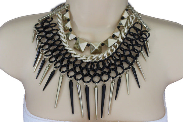 Gold / Black Gold Long Metal Chain Strand Spikes Charm Necklace + Earring Set New Women Fashion Jewelry - alwaystyle4you - 12