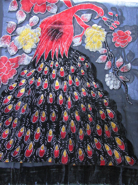 Black Neck Scarf Fabric Red Yellow Peacock Feathers Faux Velvet Women Fashion Accessories