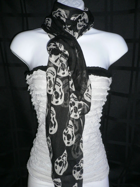 New Women Black Scarf Gray Beautiful Skulls Skeleton Drawing Soft 100% Polyester - alwaystyle4you - 12