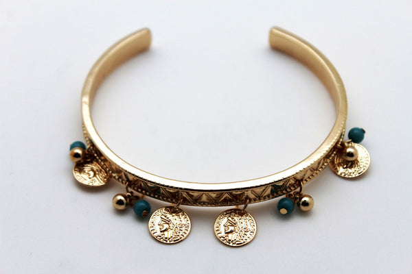 Gold Metal High Arm Cuff Bracelet Wrap Around Coins New Women Fashion Jewelry Accessories