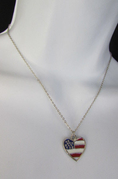 USA American Flag Star/Square/Heart Silver Metal Necklace + Matching Earring Set New Women - alwaystyle4you - 18