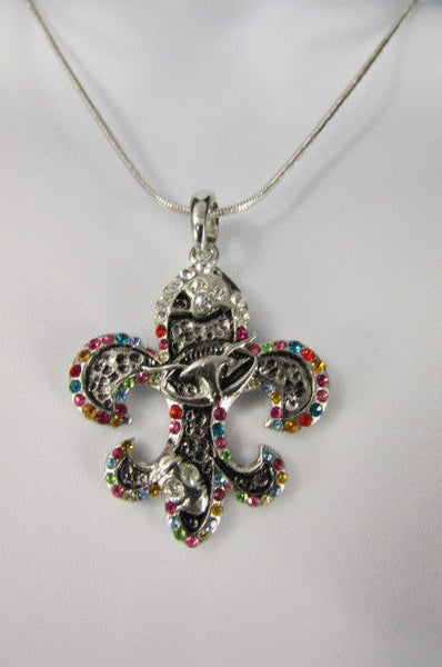 Silver Metal Fleur De Lis Lily Flower Bull Colorfull Rhinestones/ Silver Necklace New Women Fashion - alwaystyle4you - 12