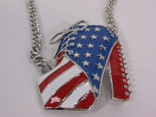 Large Metal High Heels Shoes Pendant Fashion Chains Gold / Silver Rhinestones American Flag USA Stars Necklace + Earrings Set - alwaystyle4you - 17
