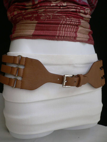 Aqua Blue Taupe Light Brown Black Red Faux Leather Elastic Hip Waist Belt Silver Buckle And Rings Rib Cage Women Fashion Accessories S M - alwaystyle4you - 23