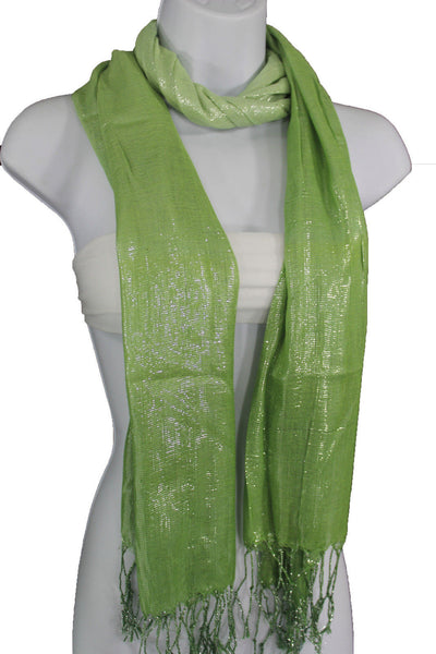 Green Neck Scarf Long Soft Fabric Tie Wrap Classic Bright Shiny New Women Jewelry Accessories - alwaystyle4you - 12