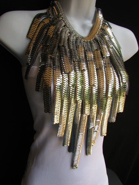 "Dressy Casual Wide Multi Strand Gold / Silver Links Chains Wide Metal New Women Necklace 20"" - alwaystyle4you - 14"