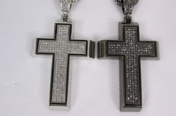 Pewter / Silver Metal Chains Long Necklace Boarded Cross Pendant New Men Hip Hop Fashion - alwaystyle4you - 17