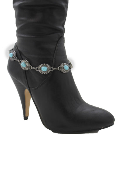 Silver Turquoise Blue Anklet Shoe Charm Boot Metal Chains Bracelet New Women Western Fashion - alwaystyle4you - 12