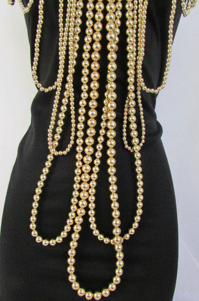 "Gold Multi Ball Beads 30"" Extra Long Unique Statement Necklace + Earrings Set  New Women Fashion - alwaystyle4you - 17"