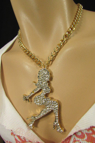 Gold Metal Chains Fashion Necklace Big Silver Rhinestone Sexy woman Shape Pendant New Men Fashion - alwaystyle4you - 1