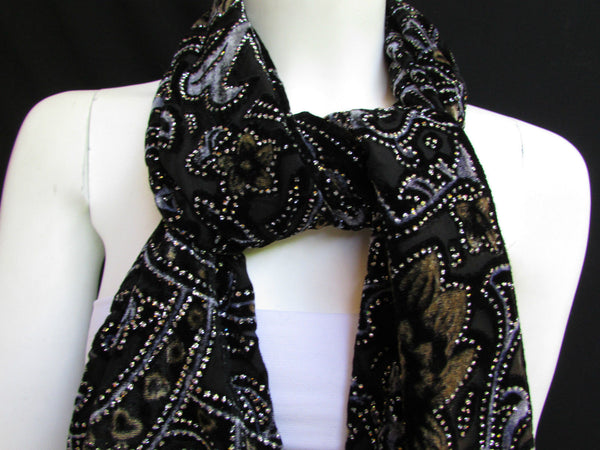 Women Scarf Black Multi Colors Big Flowers Faux Velvet European Stylish Shades - alwaystyle4you - 12