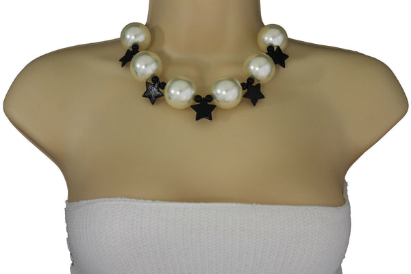 Black / Silver / Gold / Red / White Metal Stars Ball Beads Short Ivory Necklace + Earring Set New Women Fashion Jewelry - alwaystyle4you - 16
