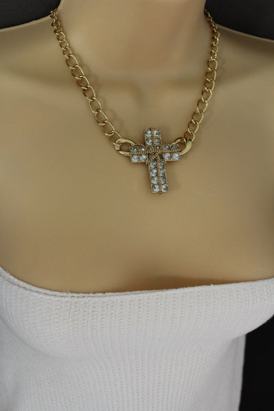 Short Gold / Silver Metal Chains Cross Pendant Necklace + Earring Set New Women Fashion Jewelry - alwaystyle4you - 13