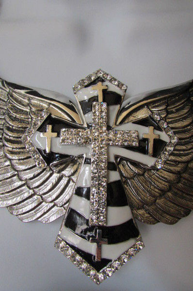 Big Bow Zebra Angel Wings Pendant Black Cross Stripes Rhinestones New Women - alwaystyle4you - 2