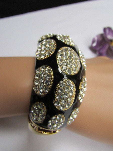 Gold Metal Wide Bracelet Black Animal Print Silver Rhinestone New Women Fashion Jewelry Accessories - alwaystyle4you - 1