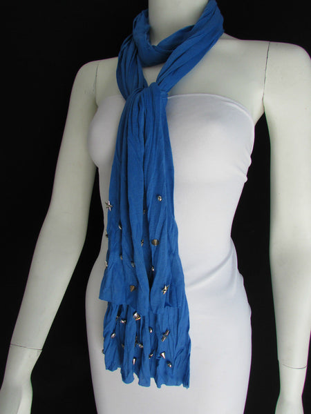 New Women Soft Fabric Fashion White / Blue /  Gray / Black Scarf Long Necklace Silver Metal Stars Studs - alwaystyle4you - 24