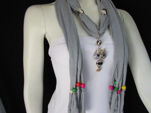 Black, Blue, Beige, Gray, White Soft Scarf Long Necklace Multicolors Wood Beads Owl Pendant New Women Fashion Accessory - alwaystyle4you - 12