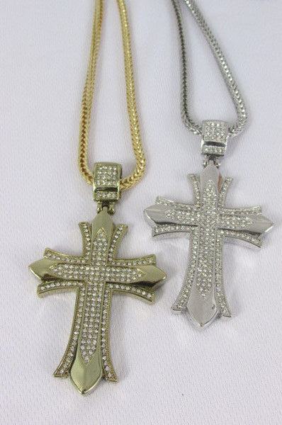 "Silver / Gold Metal Chain 35"" Long Fashion Necklace  Large Cross Pendant New Men - alwaystyle4you - 19"
