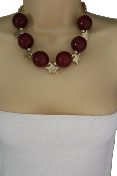 Black / Silver / Gold / Red / White Metal Stars Ball Beads Short Ivory Necklace + Earring Set New Women Fashion Jewelry - alwaystyle4you - 39