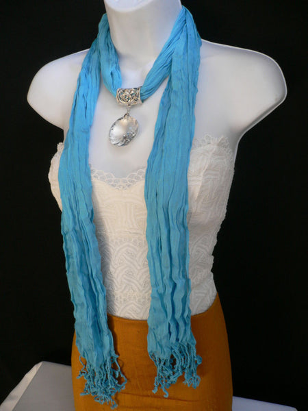Light Blue Necklac Scarf Big Silver Crystal Flower Pendant Glass New Women Fashion - alwaystyle4you - 3