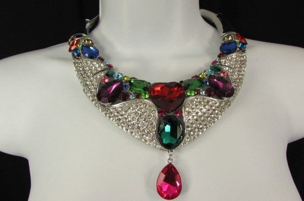 Silver Metal Multicolor Alloy Charm Bib Necklace New Women Fashion Jewelry - alwaystyle4you - 2