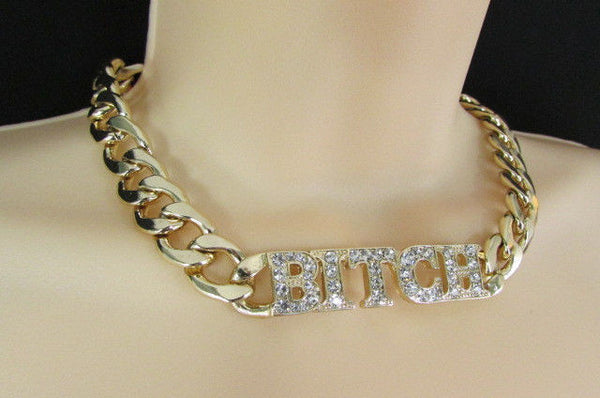 Gold Metal Chain Necklace Bitch Pendant Rhinestones + Earrings Set New Women Fashion - alwaystyle4you - 6