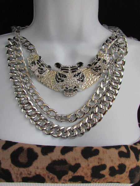 Wide Silver Chain Panther Tiger Safari Pendant Necklace + Earring Set New Women Fashion - alwaystyle4you - 12