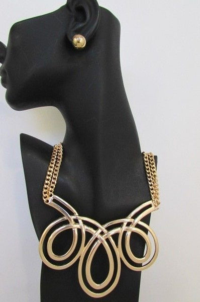 Gold / Silver Twisted 3 Drops Chain Necklace + Earring Set New Women Chunky Fashion - alwaystyle4you - 12